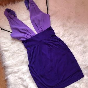 BEBE two tone deep v purple dress
